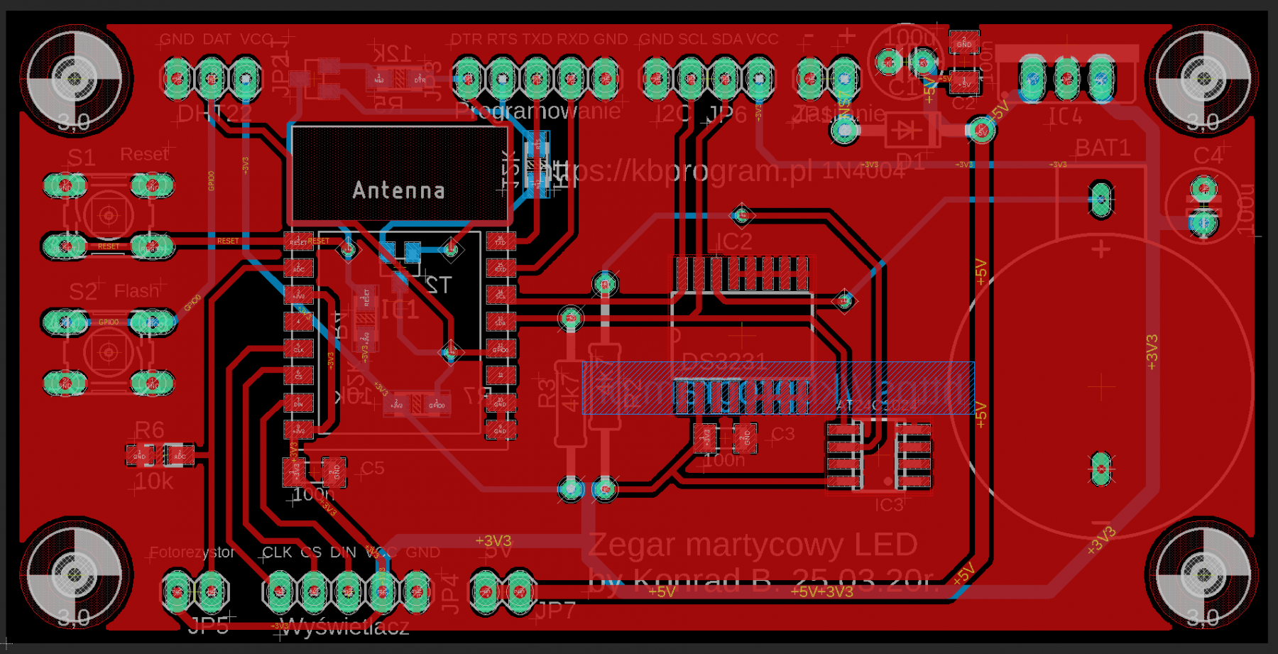 Zegar LED - PCB Eagle