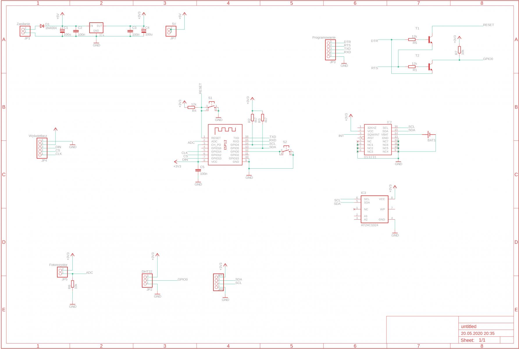 Zegar LED - Schemat