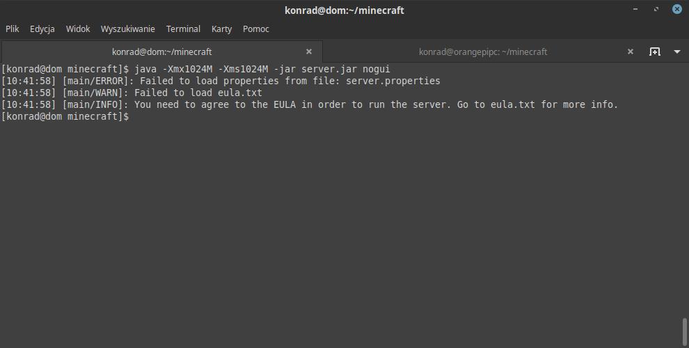 Błąd przy pierwszym uruchomieniu serwera Minecraft.