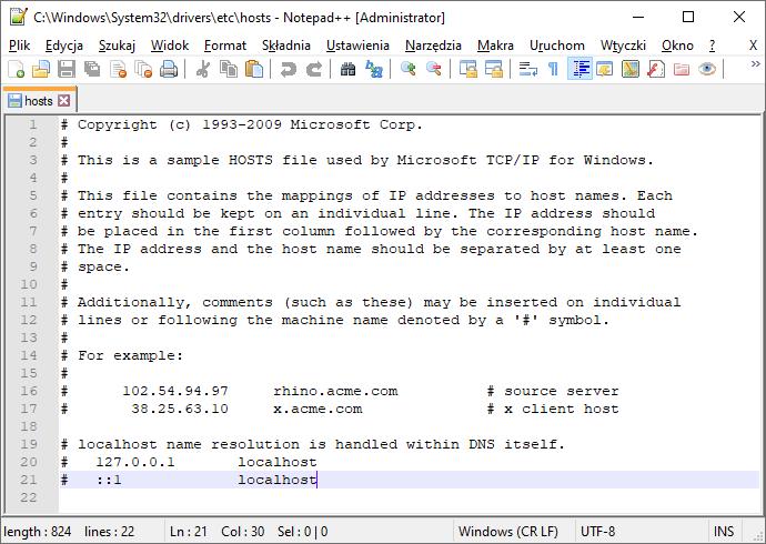 Plik hosts w systemie Windows 10