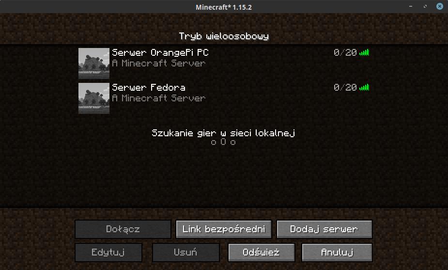 Lista serwerów Minecrafta w kliencie gry.